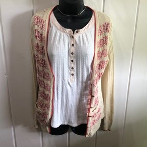 Anthropologie Sparrow Cardigan Cream Red Open Knit